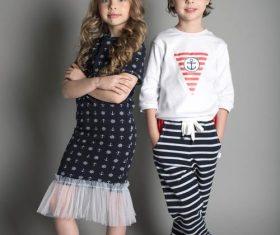Two little girls posing Stock Photo