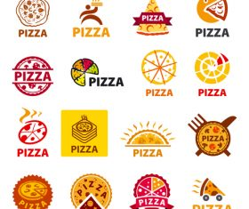 Vector logos pizza set