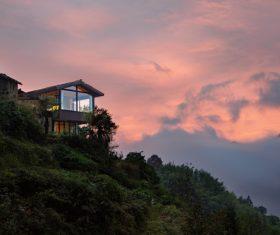 Villa built on the hill Stock Photo