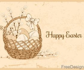 Vintage easter background with basket and egg vector
