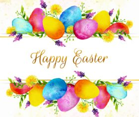 Vintage easter background with watercolor egg vector