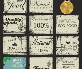 Vintage eco food with quality stamp vector