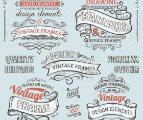 Vintage ribbon labels design vectors 01
