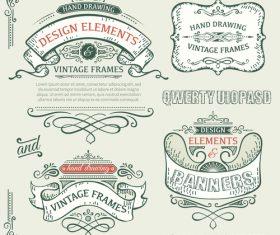Vintage ribbon labels design vectors 02