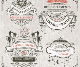 Vintage ribbon labels design vectors 03