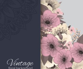 Vintage with retro flower card vector tmeplate 02