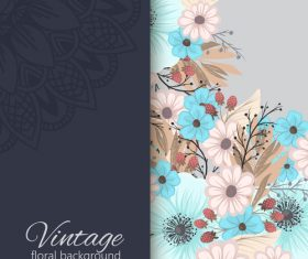 Vintage with retro flower card vector tmeplate 08