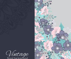 Vintage with retro flower card vector tmeplate 09