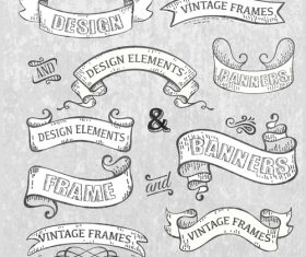 Vintage with retro ribbon banners vector