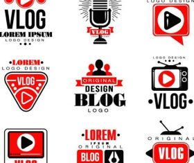Vlog with blog logos design vector