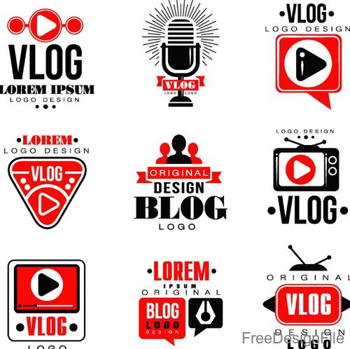 Vlog with blog logos design vector