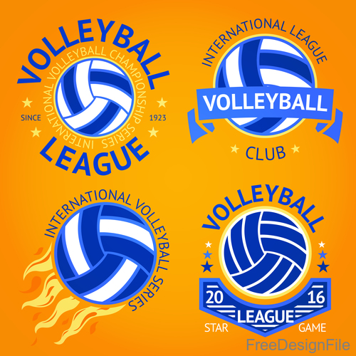 Volleyball logos vector set
