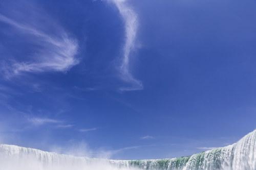Waterfall & Blue Sky Stock Photo