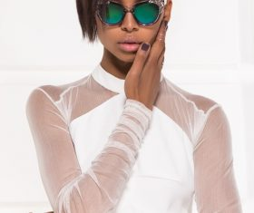 Wearing sunglasses afro-american girl posing Stock Photo 01