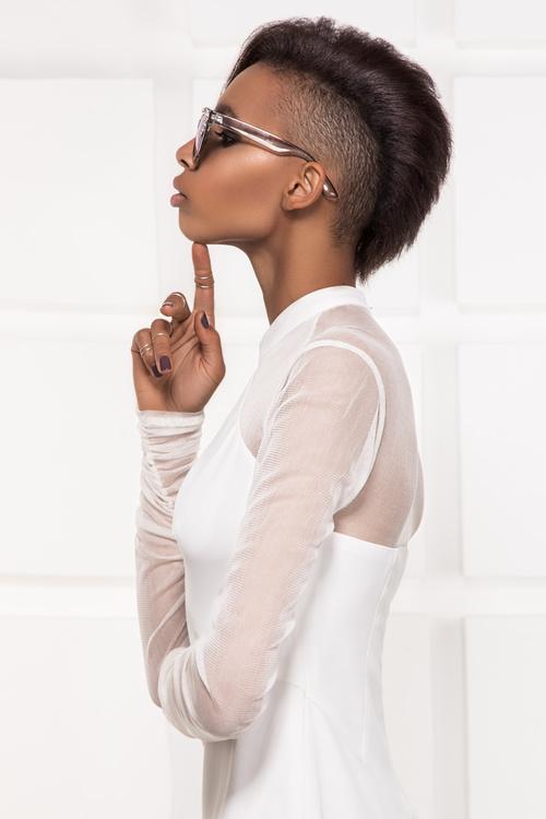 Wearing sunglasses afro american girl posing Stock Photo 02