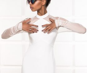 Wearing sunglasses afro-american girl posing Stock Photo 03
