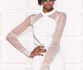 Wearing sunglasses afro-american girl posing Stock Photo 04
