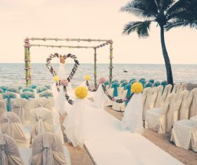 Wedding scene already arranged by the sea Stock Photo