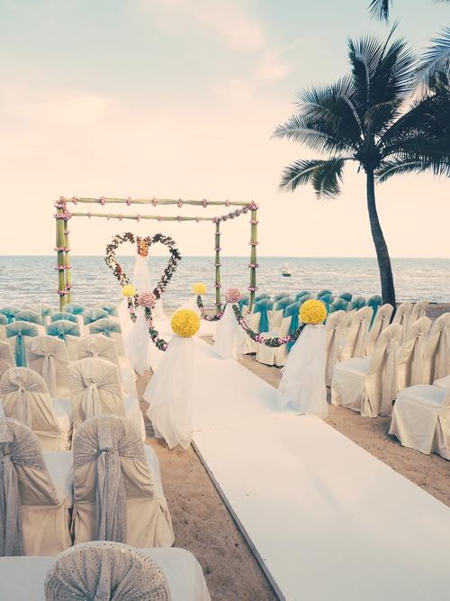 Wedding scene already arranged by the sea Stock Photo