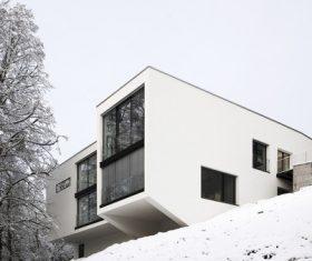 White geometric shape villa on the hill Stock Photo
