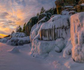 Winter dusk scenery Stock Photo