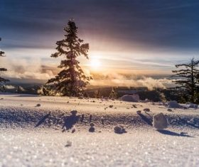 Winter snow with warm sunshine and natural scenery Stock Photo