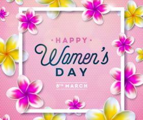 Woman Day Flower frame vector