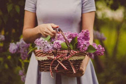 Woman holding a woven basket Stock Photo 04