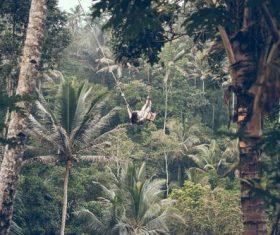Woman swinging in scenic tourist area Stock Photo 03