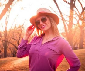 Woman wearing straw hat Stock Photo 05