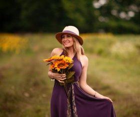 Woman wearing straw hat Stock Photo 07