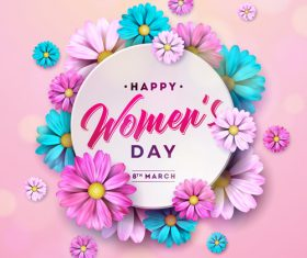 Women day with flower background vector material