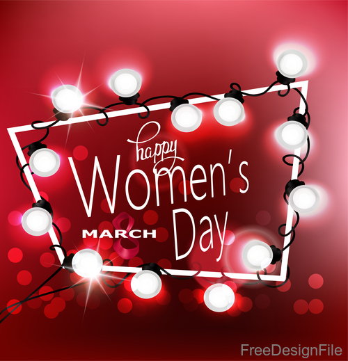 Womens Day greeting card  with garland of lights and frame vector