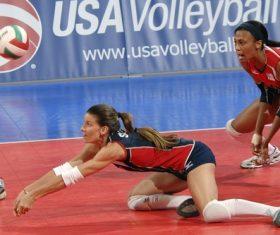 Womens volleyball match Stock Photo 01