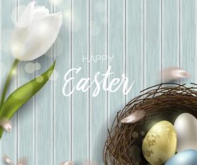 Wood wall background with easter egg and white flower vector