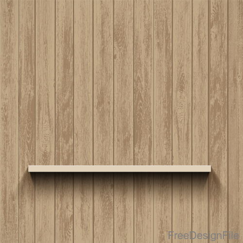 Wood wall background with shelf vector