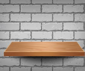 Wooden shelf with wall background vector