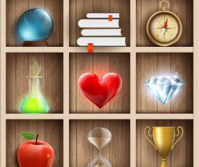 Wooden shelves magic design vector