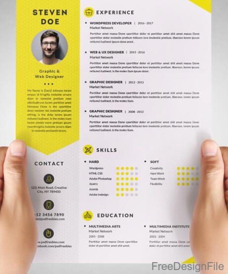 yellow styles clean resume cv psd template free download