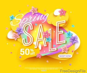 Yellow spring sale background with flowers vector