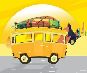 Yellow travel background vector