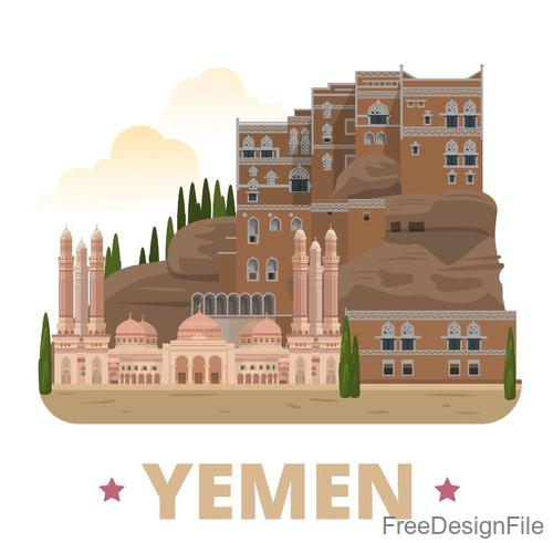 Yemen travel elements design vector