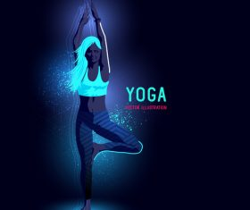 Yoga neon glowing background vector