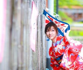 Young Japanese girl wearing kimono Stock Photo 01