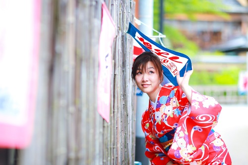 Young Japanese girl wearing kimono Stock Photo 01