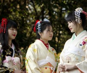 Young Japanese girl wearing kimono Stock Photo 03