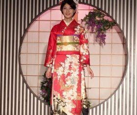 Young Japanese girl wearing kimono Stock Photo 04