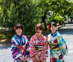 Young Japanese girl wearing kimono Stock Photo 05