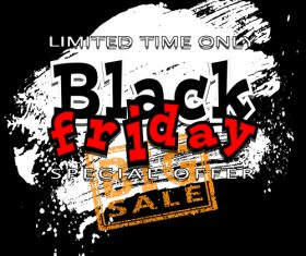 big black friday sale with brush background vector 01