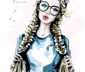 blonde hair girl sketch vector